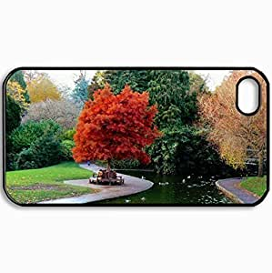 Customized Cellphone Case Back Cover For iPhone 4 4S, Protective Hardshell Case Personalized A Day At The Park Black