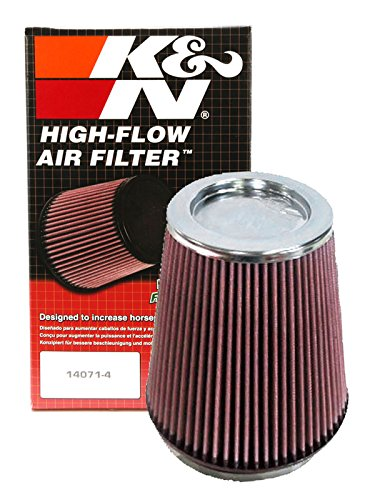 K&N RF-1020 Universal Clamp-On Air Filter: Round Tapered; 6 in (152 mm) Flange ID; 8 in (203 mm) Height; 7.5 in (191 mm) Base; 5 in (127 mm) Top