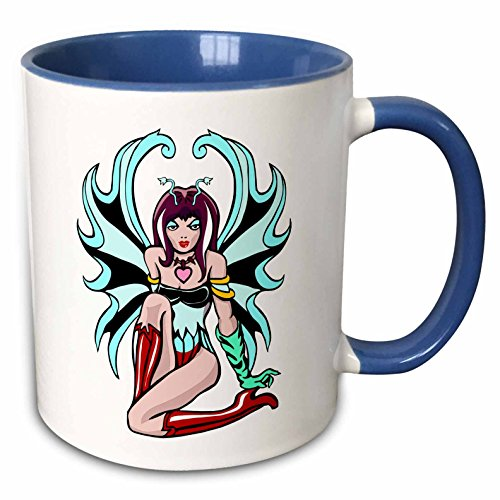 (3dRose Russ Billington Designs - Tattoo Fairy With Turquoise Wings and Red Boots - 15oz Two-Tone Blue Mug (mug_223281_11))