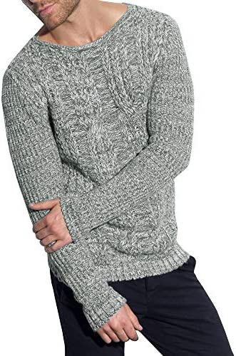 PASLTER Mens Sweaters Crew Neck Long Sleeve Slim Fit Pullover Cable Knit Casual Fall Knitwear Vintage Ribbed Sweater