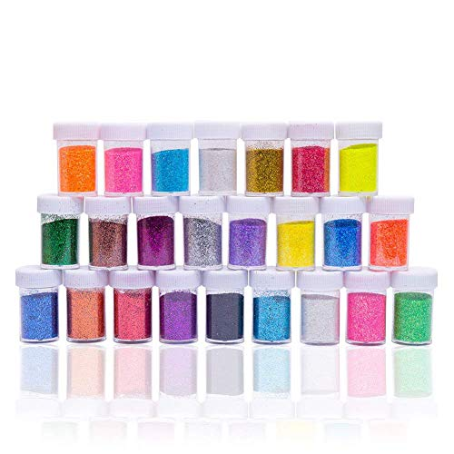 Crafts Flash Glitter Powder Sequins for Slime,Arts Crafts Extra Solvent Resistant Glitter Powder Shakers,Bulk Acrylic Polyester Craft Supplies Glitter Loose Eyeshadow,Assorted Colors,24 Pack Glitter by QC Style
