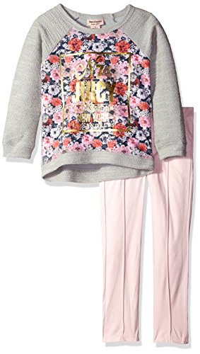 Juicy Couture Little Girls' Toddler French Terry Flower Print Top and Pant Set, Pink, 3T