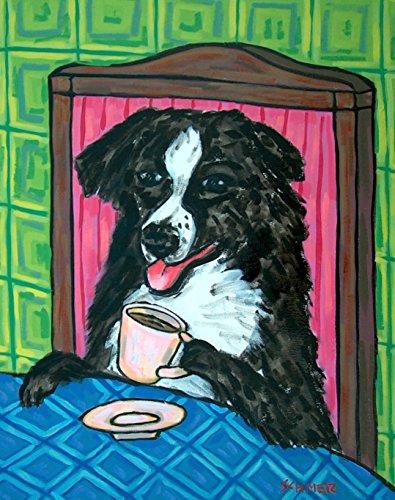 Australian Shepherd at the Cafe Coffee Shop signed dog art print