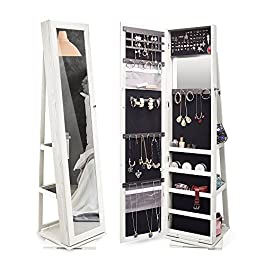 TWING 360 Rotating Jewelry Cabinet Lockable Standing Jewelry Armoire with Full Length Mirror White