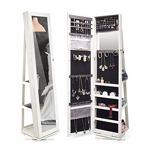 (TWING Jewelry Organizer Jewelry Cabinet 360 Rotating, Lockable Standing Wall Jewelry Armoire with Full Length Mirror White (White))