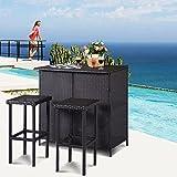 Tangkula 3 Piece Patio Bar Set Rattan Wicker Bar