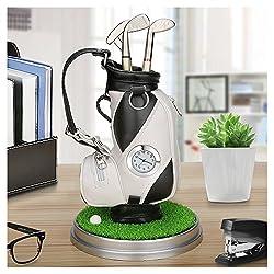Mini desktop golf bag pen holder with golf pens clock 6-piece set of golf souvenir Tour souvenir novelty gift (black and white)