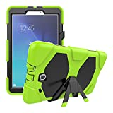 Crosstree High Impact Resistant Hybrid Three Layer Armor Defender Full Body Protective Case Cover for SM-T560, Samsung Galaxy Tab E 9.6 inch with Built in Kickstand (Lime)