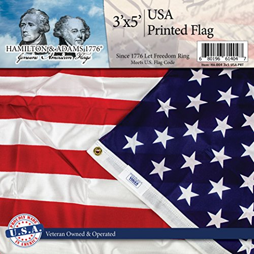 Printed Nylon Flag - AMERICAN FLAG 3 Ft. x 5 Ft - PRINTED Stars and Stripes - 100% Made in USA