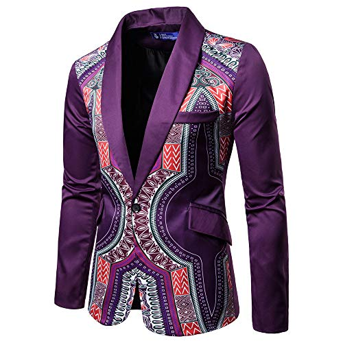 Toimothcn Charm Men's Sequin Casual One Button Fit Suit Blazer Coat Jacket Party(Purple1,XXL)]()