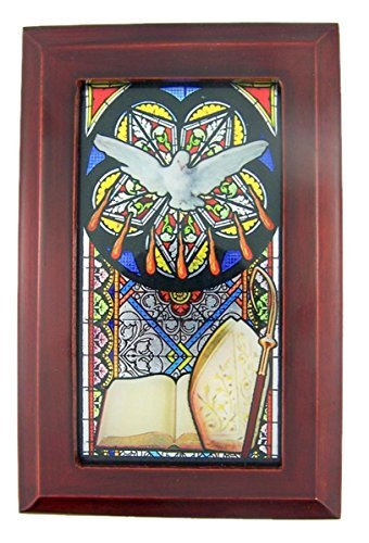 - Catholic Religious Confirmation Stained Glass Mahogany Wood Musical Jewelry Box, 6 1/2 Inch