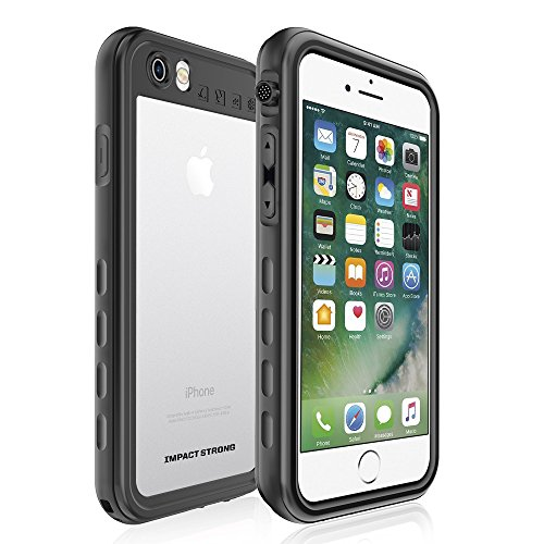 iPhone 7/8 Waterproof Case, ImpactStrong [Fingerprint ID Compatible] Slim Full Body Protection Cover for Apple iPhone 7/8 (SA) - Black