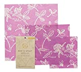 #4: Bee's Wrap Assorted 3 Pack, Eco Friendly Reusable Food Wraps, Sustainable Plastic Free Food Storage, Clover Print - 1 Small, 1 Medium, 1 Large