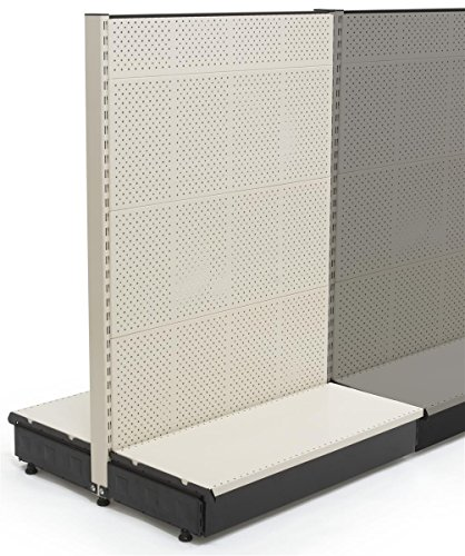 Gondola Shelving (Displays2go Add-on Gondola Panel for K3854PGSU, Metal, Slot Style, Double Sided – Beige Finish (K3854PGAOU))