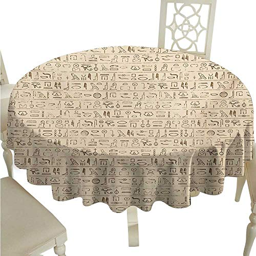 Stain-Resistant Tablecloth Egyptian Old Dated Hieroglyphics Ancient Language Hand Written Style Borders with Worn Look Easy to Clean D70 Suitable for picnics,queuing,Family]()