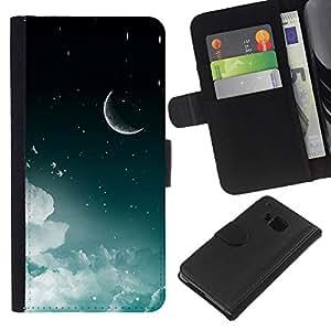 KLONGSHOP // Tirón de la caja Cartera de cuero con ranuras para tarjetas - Luna Creciente Estrellas del cielo nocturno Nubes Espacio - HTC One M7 //