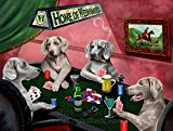 Home of Weimaraners 4 Dogs Playing Poker Art Portrait Print Woven Throw Sherpa Plush Fleece Blanket (60x80 Woven)
