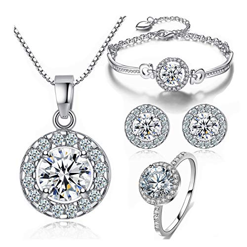 (Y&M Bridal Austrian Crystal Necklace Earrings Bracelet 7 Size Ring 4pcs Jewelry Sets Gifts Fit with Weddding Dress)