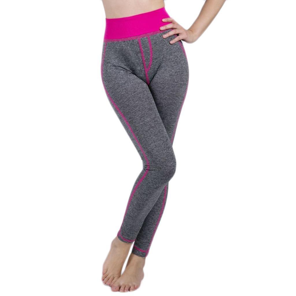 AMSKY Women False Pocket High Waist Tummy Control Workout Yoga Leggings Pants (L, Hot Pink)