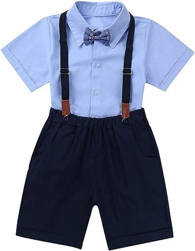dPois Camisa Manga Corta Pantalones Navy Tirantes Conjunto Ropa de Fiesta Boda Bautizo para Bebé Niño Verano Traje de Gentleman para Niños 1-7 Años Azul 5-6 Años: Amazon.es: Ropa y accesorios