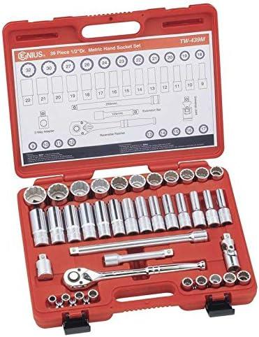"Genius Tools 1//2/"" Drive Metric Deep Hand Socket"