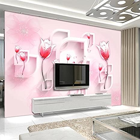 300cmx210cm Custom 3d Wallpaper Moderno Rosso Semplice Tulip Sfondi
