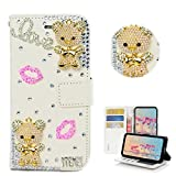 STENES Galaxy J7 (2018) Case - Stylish - 3D Handmade Bling Crystal Cute Pearl Beer Sexy Lips Design Magnetic Wallet Credit Card Slots Fold Stand Leather Cover for Samsung Galaxy J7 SM-J737 - Pink