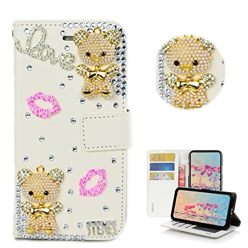 (STENES BlackBerry KEY2 LE Case - Stylish - 3D Handmade Bling Crystal Cute Pearl Beer Sexy Lips Design Magnetic Wallet Credit Card Slots Fold Stand Leather Cover for BlackBerry KEY2)