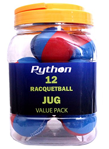 Python RG Multi Colored Racquetballs (Value Pack 12 Ball Jug/Endorsed by Racquetball Legend Ruben Gonzalez!)