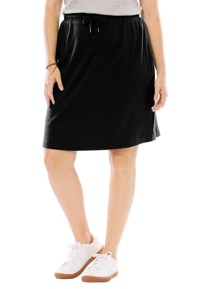 Women's Plus Size Sport Knit Skort Black,1X
