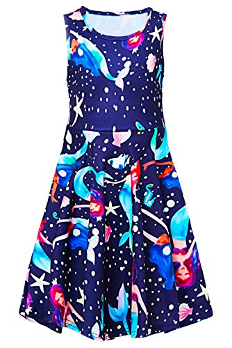 Girls Sleeveless Dress 3D Print Cute Galaxy Space Mermaid Dot Pattern Navy Blue Summer Dress Casual Swing Theme Birthday Party Sundress Toddler Kids Twirly Skirt, Mermaid, 10-13T
