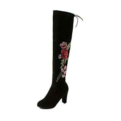 90f01c5ed9b chegong Women's Thigh High Boots Faux Suede Leather Embroidered Chunky Heel  Over The Knee Boots