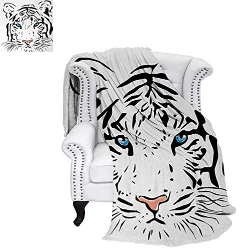 (Print Artwork Image The Head of Magnificent Rare White Albino Tiger with Ocean Blue Eyes Image Warm Microfiber All Season Blanket 60