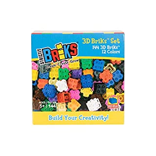 Strictly Briks Classic Bricks 144 Piece 3D 12 Color Building Creative Play Set - 100% Compatible with All Major Brick Brands