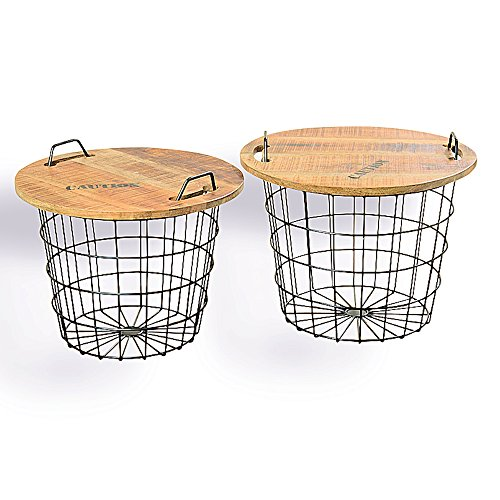 Whole House Worlds The Set of 2 Urban Chic Convertible Studio Tables or Baskets, Top Handles, Removable Tray Top, Distressed Vintage Style, Sustainable Wood, Metal, 2 Ft. and over 1 ½ Ft. Wide, By (Barrel Table Coffee 2 1)