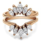 TwoBirch Rose Gold Plated Sterling Silver Marquise Ring Guard Enhancer For Pear Shaped Solitaire with Cubic Zirconia (1.86 ct. tw.)