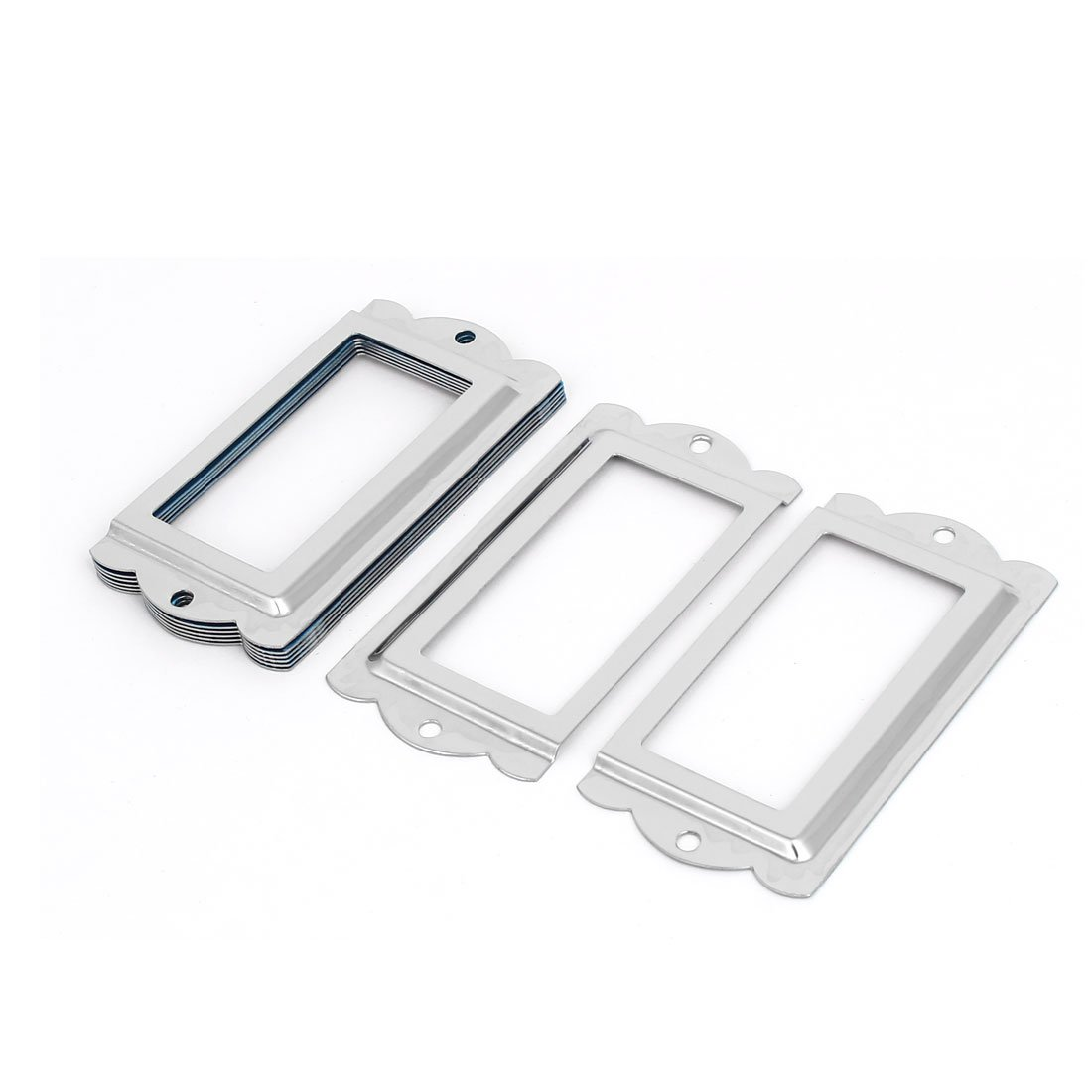 uxcell Library Office File Drawer 85mm x 42mm Tag Label Holders Frames Silver Tone 8PCS