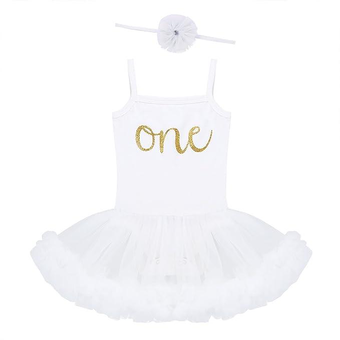 iEFiEL Peleles Con Tutú Falda Verano Vestido de Fiesta Bautizo Monos para Bebé Niña 9-