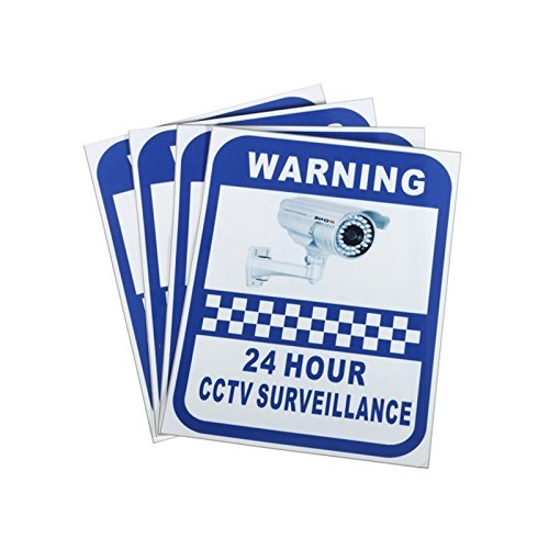 Hanbaili 1 PC Vinyl Sticker, CCTV Security Alert 24 Hour Surveilance All Activities Are Monitored Sign Warning Vinyl Decal from Hanbaili