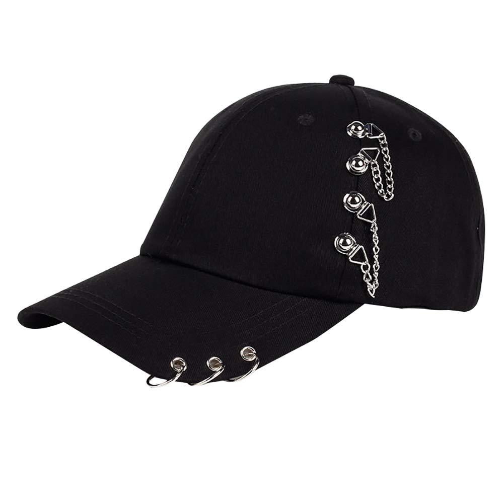 AkoMatial Cotton Metal Anti-UV Light Ring Hip-Hop Baseball Cap Outdoor Sports Hat for Women