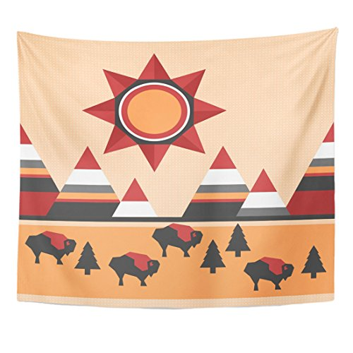 Emvency Tapestry Colorful Pattern Native Indian Landscape Mountains Buffaloes and Sun Home Decor Wall Hanging for Living Room Bedroom Dorm 50x60 Inches