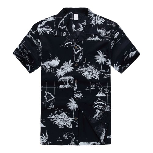 Palm Wave Men's Hawaiian Shirt Aloha Shirt L Navy Map