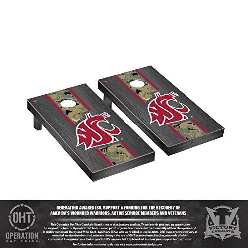 Victory Tailgate Operation Hat Trick Washington State WSU Cougars Cornhole Set Onyx Stained Version