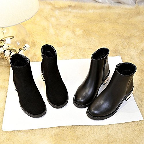 Women's Winter PU Boots Casual HSXZ Round Comfort Toe Black Heel Shoes ZHZNVX Black Flat for qI5xAwFn4