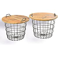 The Set of 2 Urban Chic Convertible Studio Tables or Baskets, Top Handles, Removable Tray Top, Distressed Vintage Style, Sustainable Wood, Metal, 2 Ft. and over 1 ½ Ft. Wide, By Whole House Worlds