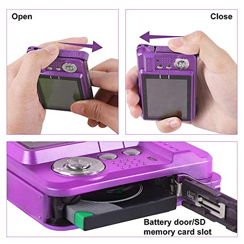 Digital Camera,24 Mega pixels 2.4 Inch HD Camera for Backpacking Rechargeable Mini Camera Students Cameras Pocket Cameras Digital with Zoom Compact Cameras for Photography(32GB SD Card Included)