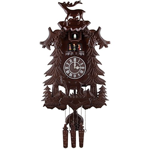 Kendal Vivid Large Deer Handcrafted Wood Cuckoo Clock with 4 Dancers Dancing with - Deer Clock Cuckoo