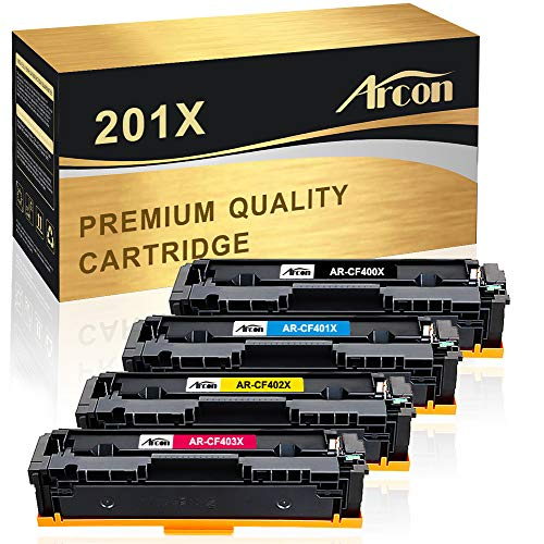 Arcon Compatible Toner Cartridge Replacement for HP 201X 201A CF400X CF401X CF402X CF403X CF400A HP Color Laserjet Pro MFP M277dw M252dw M277n M277c6 M252n M277 Printer (Black, Cyan, Magenta, Yellow) (Hp Color Laserjet Pro Mfp M277dw Toner Price)