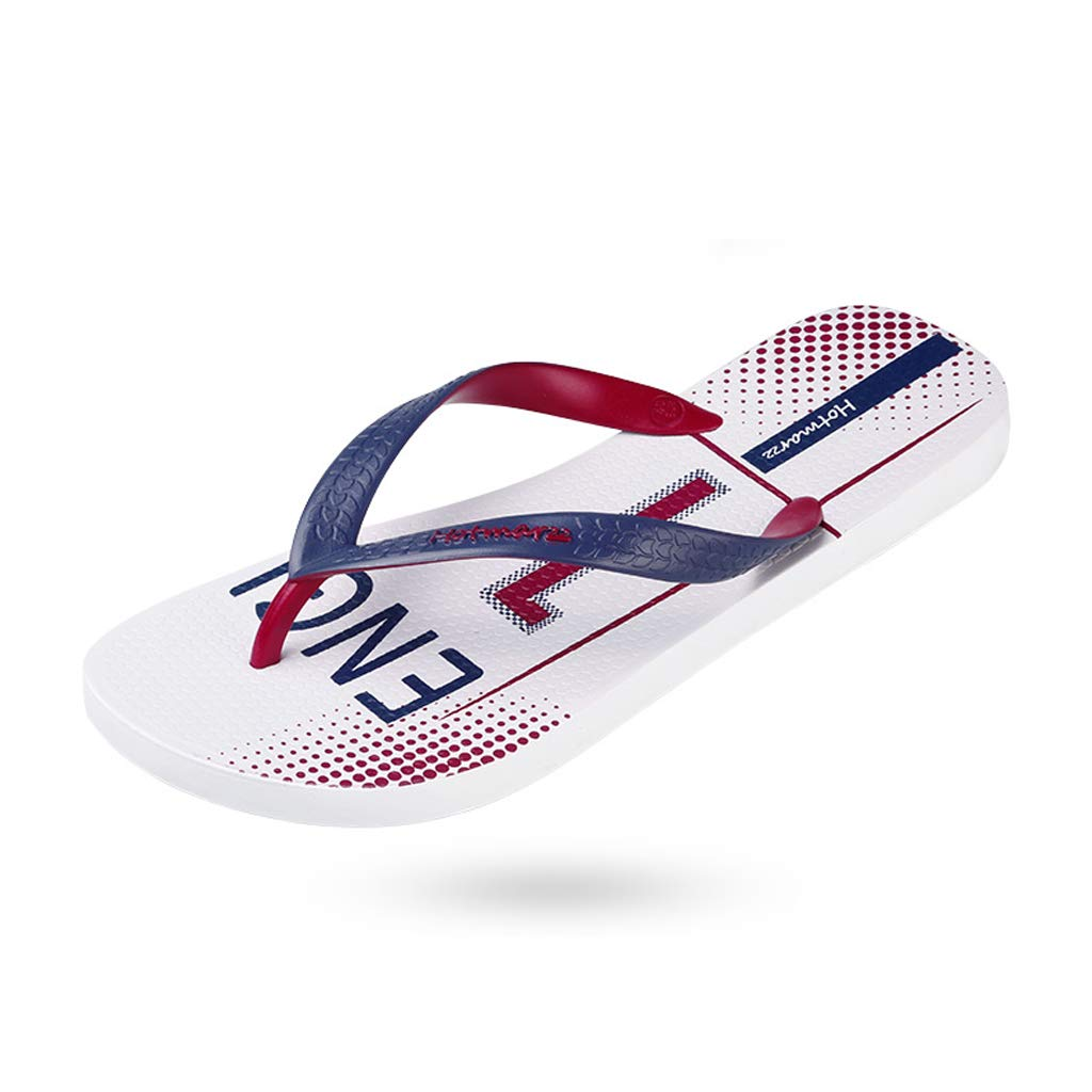 c5f793036bc Amazon.com  HZH White Flip Flops Men s Sports Shoes Summer Slippers Flat  Bottomed Beach Shoes  Sports   Outdoors