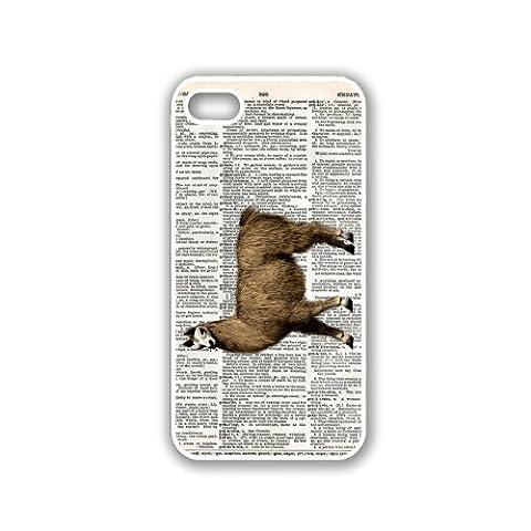 Llama On Dictionary Retro Vintage Zoology iPhone 5 White Case - For iPhone 5/5G White Designer Plastic Snap On (Ipod 5 Llama Case)